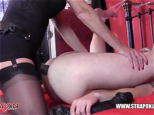 insane marionette gasping and romping femdoms gigantic belt dick wood