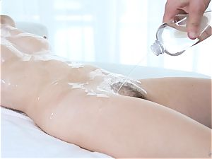 well-lubed up Kaylee pleasure button and gets her wooly cooter banged