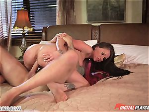 slender young secretary helps her manager