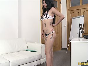 Pierced Thai cooter gets lots of exploitation in the office