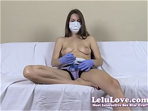 topless doll with medical mask and strap dildo