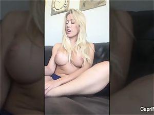 Capri fumbles splooge into her super-sexy feet