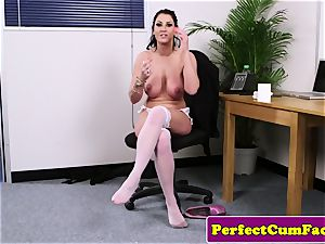 chesty office british inhaling man meat until facial