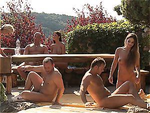 Outdoor romp fun and porn games vignette trio