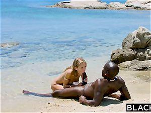 BLACKED heavy ebony stud porks ash-blonde tourist on the beach