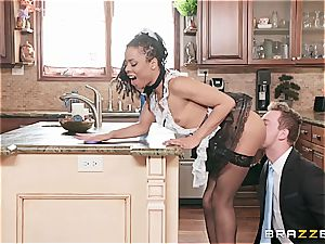 red-hot ebony maid almost get caught