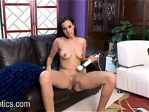 Danica James arching Over on a stimulating animal