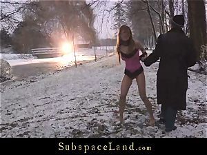 Sever master torments victim Olga Barz out in the cold