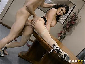 wild dark haired Romi Rain nailed in her cock-squeezing honeypot