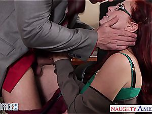 red-haired hotty in glasses Penny Pax tear up in the office