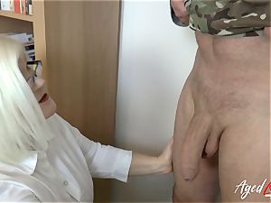 AgedLovE Lacey Starr pounding rock hard with Soldier