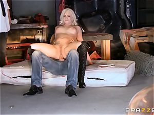 light-haired Bailey Blue caught and penetrated