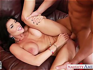 scorching girlfriend Romi Rain riding pipe