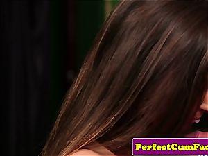 UK college girl wanking before facial cumshot jizz flow