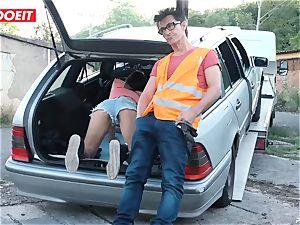LETSDOEIT - teen smashes older guy For Free Car Repair