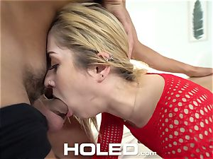 HOLED smallish light-haired Goldie Glock anal penetrated