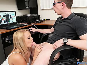 sista gives head to nerdy stepbro while he's toying games