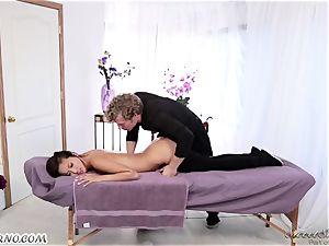 slender chinese dame Alina Li with small bra-stuffers gives impressive massage
