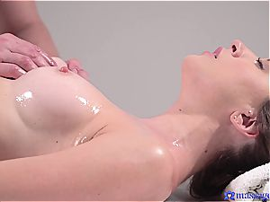 warm rubdown turns to sensuous fuckfest and this brunette goddess luvs it