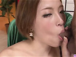 Ena Ouka concludes ultra-kinky pink cigar blowing play with facial cumshot