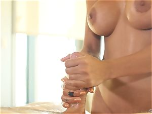 lengthy haired dark-haired Amia Miley oiled up for lusty poking sesion