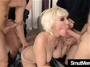 Mature blond group-fucked mass ejaculation