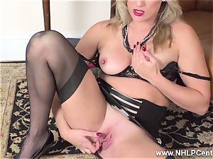 platinum-blonde finger tears up raw puss in girdle antique nylons