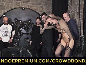 CROWD restrain bondage - extreme bondage & discipline drill wheel with Tina Kay