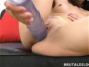 diminutive Ashley forest makes her vulva jism from ginormous dildo