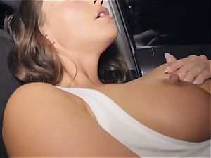 Abigail Mac slobbering on a large chisel