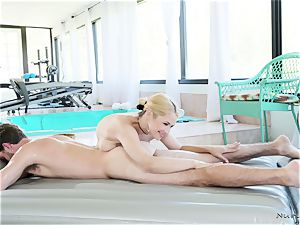 big-chested masseur In act
