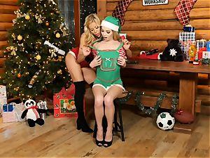 Mrs Claus Alexis Fawx slurps out elf Angel Smalls