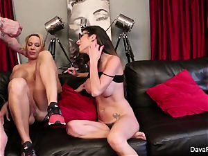 pov deep throating and pummeling with Dava Foxx and Alyssa Lynn