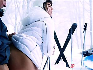Playful skier Nikky dream takes her trainer's fuck-stick in the snow