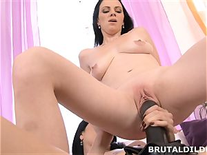 Mary stuffs Blue Elis throat and cunt with a immense fake penis