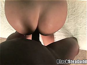brown-haired with ample cupcakes boned by a gigantic ebony hard-on