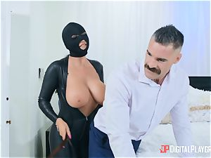 big-titted fetish british honey Romi Rain sits her cootchie on Charles Dera