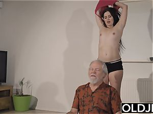 nubile Interrupts grandpa from Yoga And bj's his stiffy