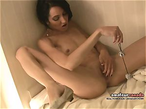 skinny French damsel with lil' funbags jizzes using ben