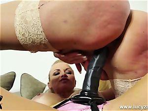 insane platinum-blonde rides gigantic strap on dildo then gets porked by magic wand