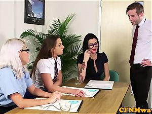 CFNM office honeys sucking coworkers hard-on