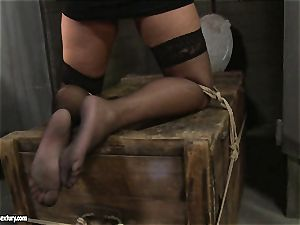 Kathia Nobili spanking a steamy honey in public wc