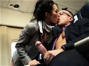 Asa Akira and her hostess friends pulverize on flight