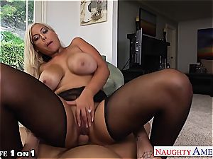 super-naughty Bridgette B. takes his pillar between her titties