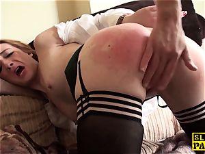 Ginger british slave fuckslut dominated in pantyhose