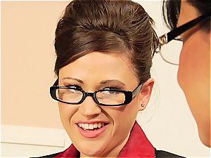 Lisa Ann teasing her coworker's fur covered vulva