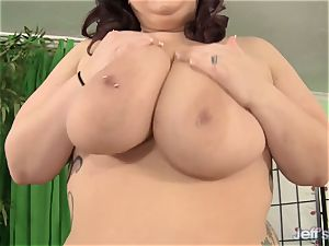 red-hot gigantic titted plus-size uses a crimson vibro