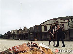 Canela skin outdoor vagina thrash with strung up cowboy Nacho Vidal