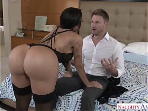 huge-boobed lascivious exotic lady Lela star seduces a married boy