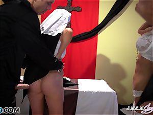 ultra-kinky nuns Jessica Jaymes and Nikki Benz pleasing gods dreams